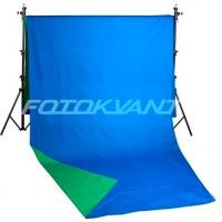 Fotokvant BG-2950 Blue Green фон тканевый 2,9х5 м двусторонний зеленый и синий