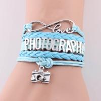 Fotokvant PRB-002 подарочный кожаный браслет любителям фотографии голубой