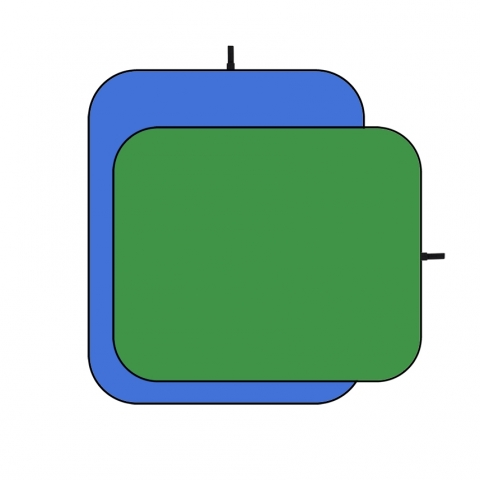 Fotokvant (1205-1000) фон тканевый складной 1,0х1,5 м хромакей двусторонний синий и зеленый